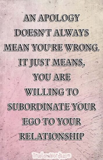 AN APOLOGY DOESN'T ALWAYS MEAN YOU'RE WRONG. IT JUST MEANS, YOU ARE WILLING TO SUBORDINATE YOUR EGO TO YOUR RELATIONSHIP