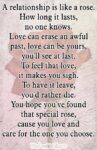 A relationship is like a rose. How long it lasts, no one knows. Love can erase an awful past, love can be yours, you'll see at last. To feel that love, it makes you sigh. To have it leave, you'd rather die. You hope you've found that special rose, cause you love and care for the one you choose.