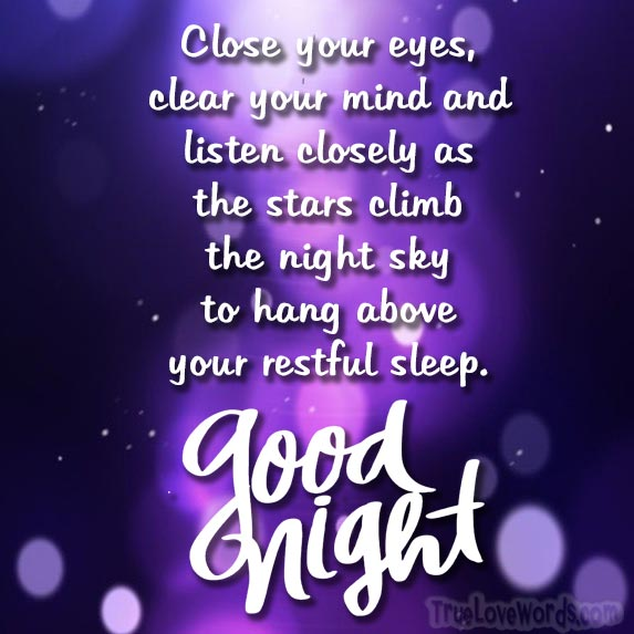 close your eyes and clear your mind - good night messages for her
