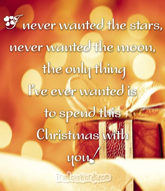 I never wanted the stars, never wanted the moon, the only thing I've ever wanted is to spend this Christmas with you