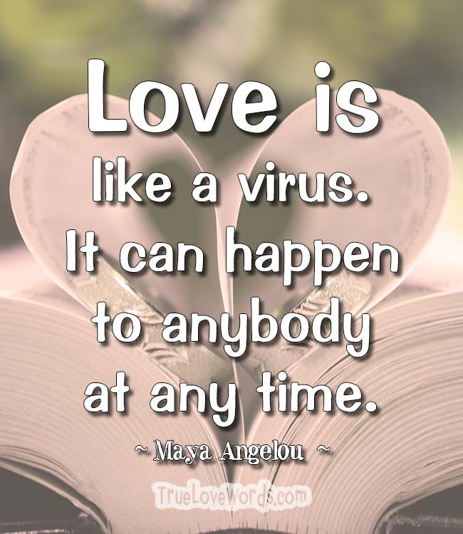 Love is like a virus. It can happen to anybody at any time