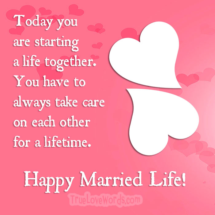 happy married life wedding wishes card