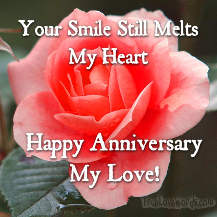 Romantic wedding anniversary wishes for wife true love words wedding anniversary wishes your smile still melts my heart m4hsunfo