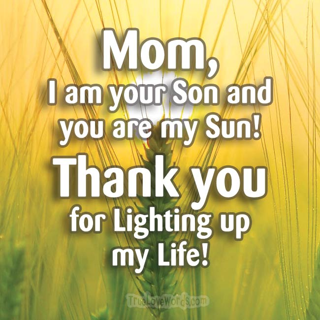 Mom I am your Son and You are my Sun - Thank You Mom