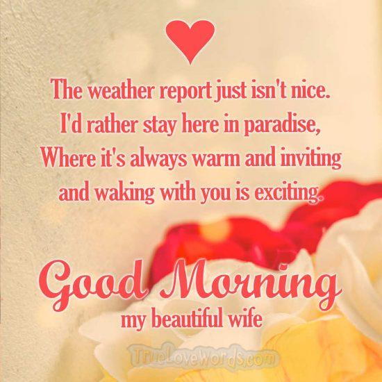 Good morning my wife