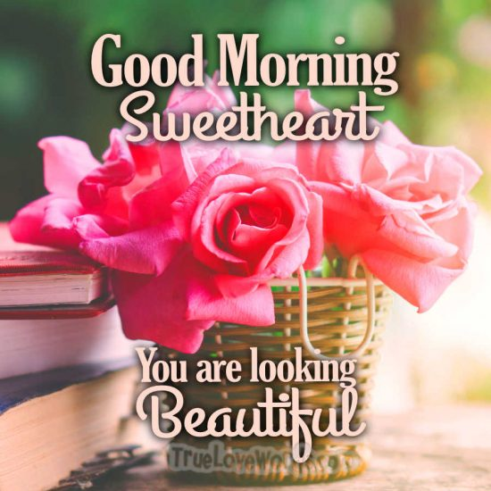 Good morning sweetheart you are looking beautiful