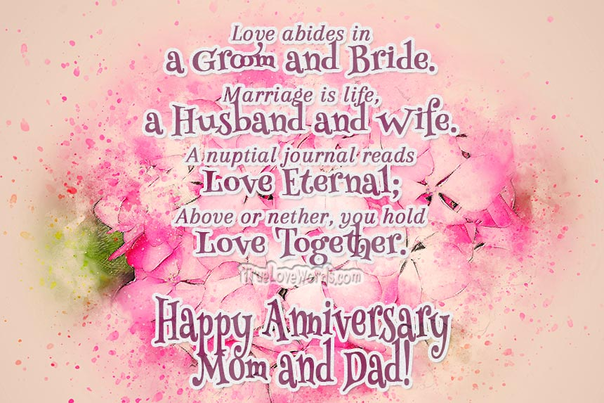 30 Sweet Wedding Anniversary Wishes For Mom And Dad » True ...