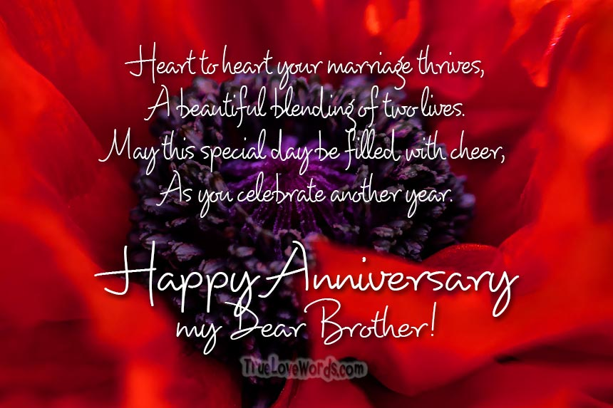 Wedding Anniversary Wishes For Brother » True Love Words