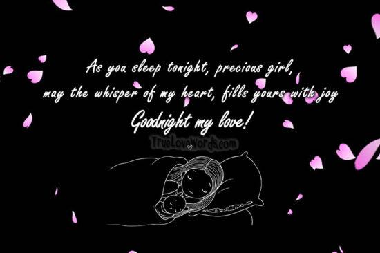 As you sleep my precious girl Goodnight my love