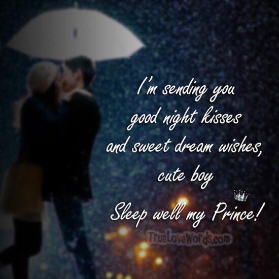 good night kisses sweet dream wishes my boy