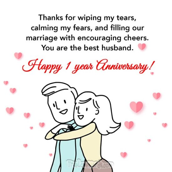 thanks you for one year of marriage - 1st wedding anniversary wishes for husband