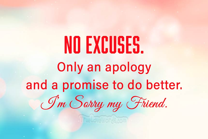 Friend words of a apology to Apology Message