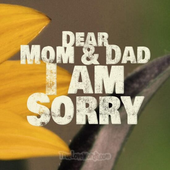 Dear Mom and Dad I am sorry