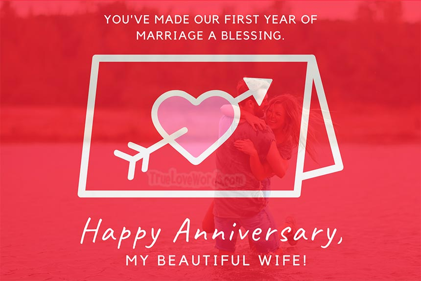 1st year of blessing Happy 1st Anniversary wishes for wife