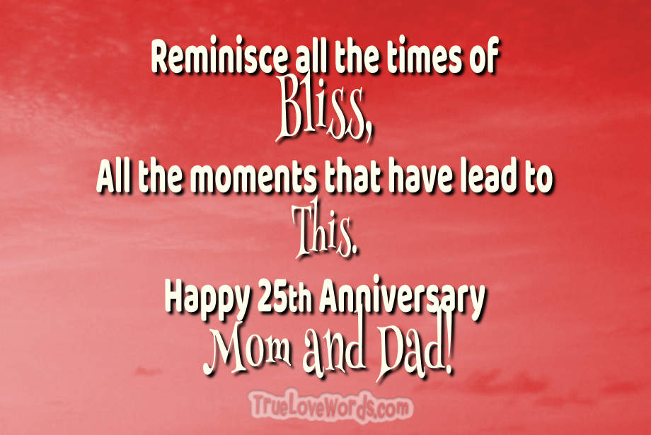 25th Wedding Anniversary Wishes For Parents Silver Jubilee Celebration