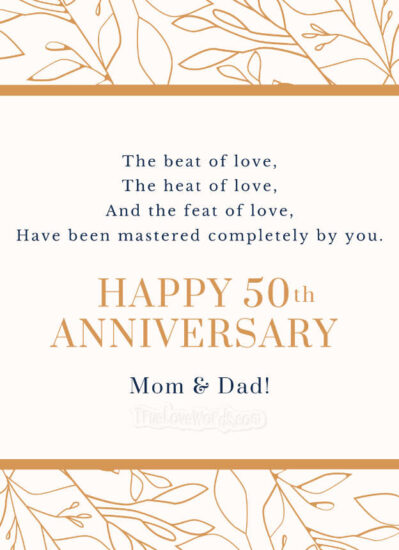 Happy 50th Anniversary Wishes for Parents
