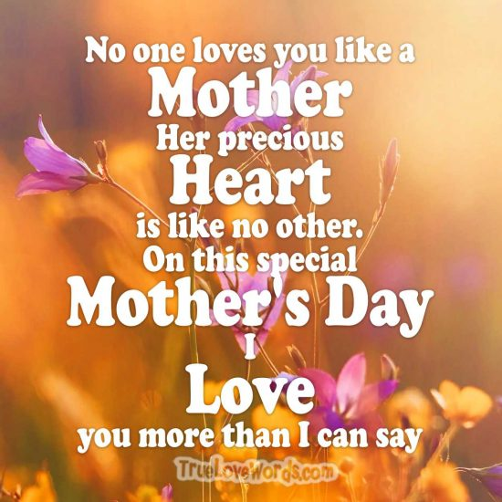Mom I love you more than I can say. Mother's day message
