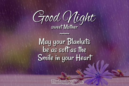 Good Night mom with a smile in your heart